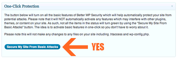 Screenshot of Better WP Security's One-click Protection